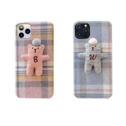 아이폰 커플 입체 곰인형 체크 패턴 패브릭 폰케이스