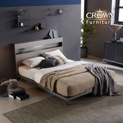 모던딘 메탈그레이 LED 조명 침대 Q 퀸 독립 매트 포함