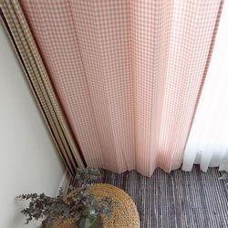 핑크 체크 커튼 (1cm) - M사이즈