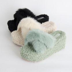 P8602 리얼 토끼털 뽀글 통굽 슬리퍼(225-245)