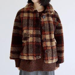 winter check fur jacket (2colors)