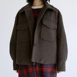 two pocket crop jacket (brown)