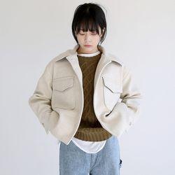 two pocket crop jacket (beige)