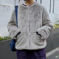 soft round fur jacket (2colors)