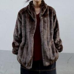 fluid fur jacket (brown)