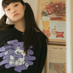 NEONMOON Teddy & Cherryzz T-Shirt - BLACK