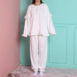 레이스 극세사 봉봉 화이트 잠옷 수면 파자마 홈웨어
