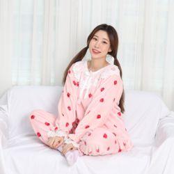 레이스 극세사 베리 핑크 잠옷 수면 파자마 홈웨어 세