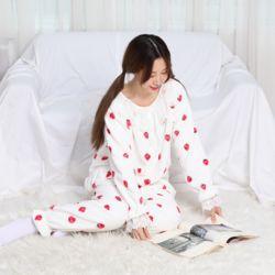 레이스 극세사 베리 화이트 잠옷 수면 파자마 홈웨어