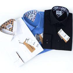 레트로 스판 하얀색 파란색 검정색 긴팔 와이셔츠RF11746