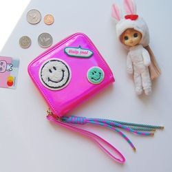 핫핑크 홀로그램 동전 카드지갑