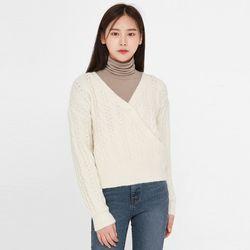 eyelet wrap v-neck knit