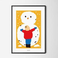 눈사람 만들기 M 유니크 인테리어 디자인 포스터 겨울 A3(중형)
