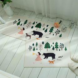 숲속친구들 극세사 매트세트 - 1color