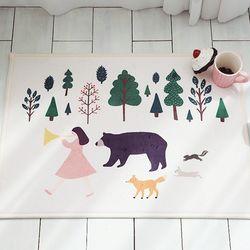 숲속친구들 극세사 매트 - 1color