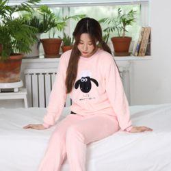 캐릭터 극세사 양 핑크 잠옷 수면 파자마 홈웨어 세트