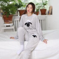 캐릭터 극세사 양 그레이 잠옷 수면 파자마 홈웨어 세