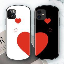 아이폰 유광 커플 하트 프린팅 강화유리 하드 폰케이