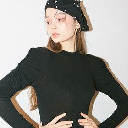 Shirring Sleeve T Black