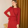 Layered Wrap Dress Burgundy