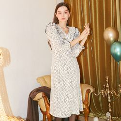 Ruffle Point Midi Dress Ivory