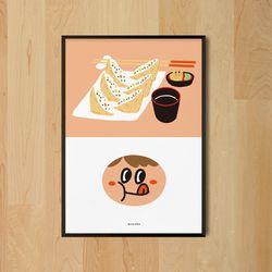 꿀맛 유부초밥 M 유니크 인테리어 디자인 포스터 식당 A3(중형)