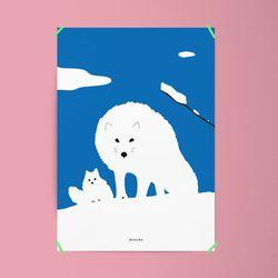 북극여우 M 유니크 인테리어 디자인 포스터 동물 A3(중형)