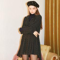 Dot Chiffon Shirring Dress