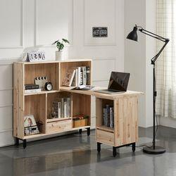 두옴 삼나무 H형 책상+1200 책장 세트 B형