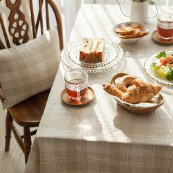 플래드 식탁보 테이블보 [베이지] 6인용 145x210cm