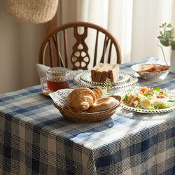 플래드 식탁보 테이블보 [블루] 2인용 145x145cm