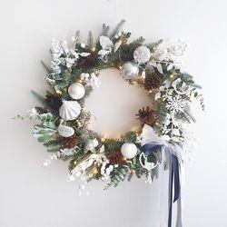 디어화이트 크리스마스 대형리스(와이어전구추가)