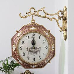 팔각형 금도금 주물 양면시계 SUN-293