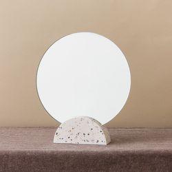 테라조 원형 탁상거울(하프문)
