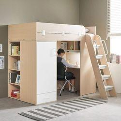 하우스 독서실책상 벙커침대+매트포함