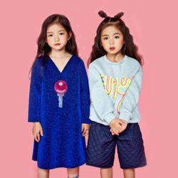 여아 로고 펄 블루 원피스 드레스