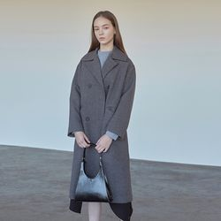 LOOSE-FIT DOUBLE COAT CHARCOAL