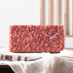 스칸디아모스 원목 벽시계(40x20cm) - 핑크