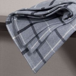 Blue Gray Check Wool Blanket. 140x170