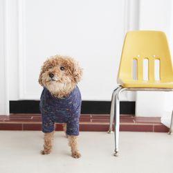 레인보우 청키 하이넥 스웨터(네이비)