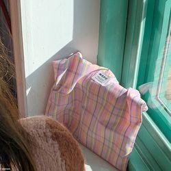 빈티지 체크 미니 가방(핑크)