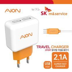 with SK엠앤서비스 5핀 가정용 USB 2포트 충전기 2.1A