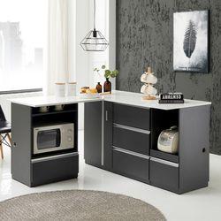 BZ 아스덴 ㄱ자 확장형 아일랜드홈바 식탁 기본형 풀세트1500