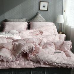 레이스 핑크 극세사이불-퀸기본세트