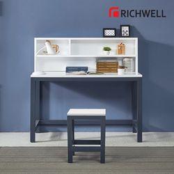 네이비 일자 책상 전면 책장 세트 1200 (의자별도)