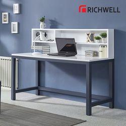 네이비 일자 책상 전면 책장 세트 1500 (의자별도)