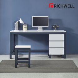 네이비 일자 책상 3단 서랍통 세트 1200 (의자별도)