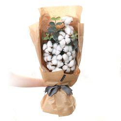꽃다발 입학 졸업 기념일 선물 15송이목화꽃다발+10송이비누장미