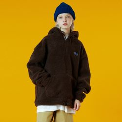 N Original small logo fleece anorak-brown