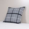 Blue Gray Wool Check Cushion 50x30